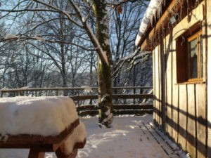 Cabane dans les arbres hiver